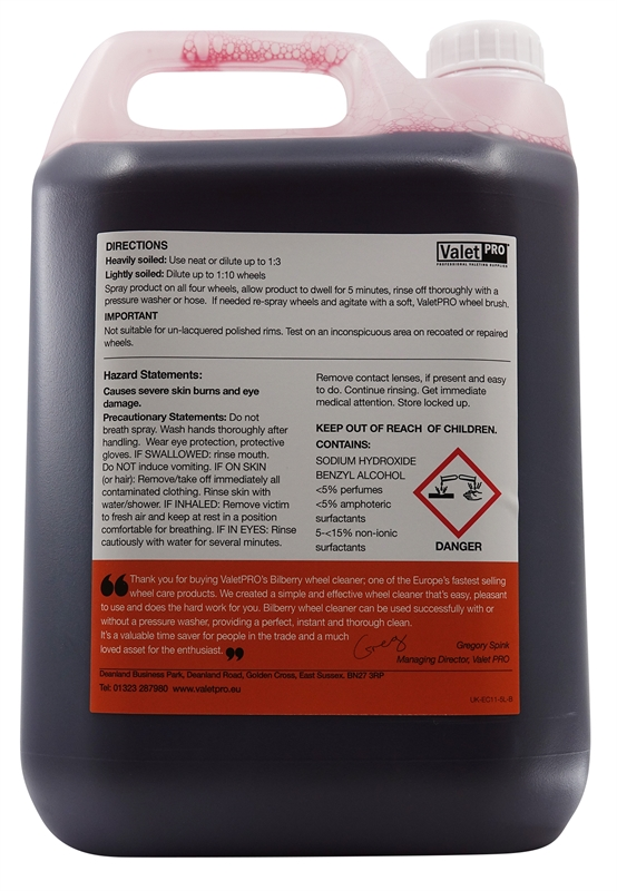 Bilberry Wheel Cleaner 5L -back label