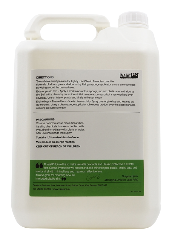 Classic protectant 5L Back Label