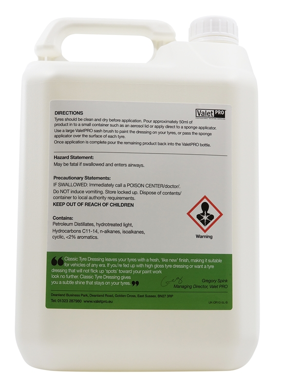 Classic Tyre Dressing 5L -back label