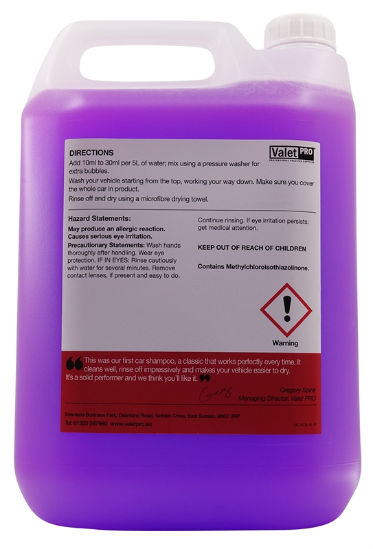 Concentrated Car Wash 5L -back label