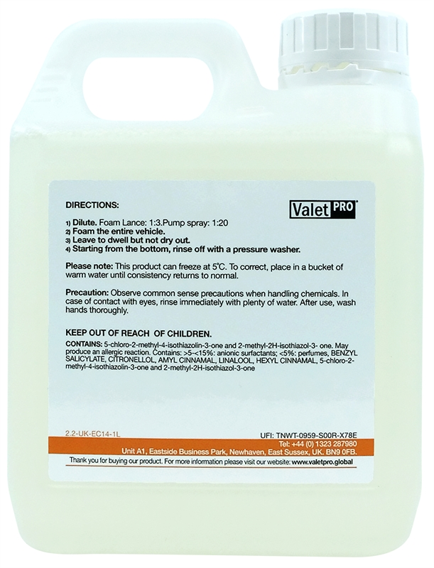 pH Neutral Snow foam 1L back label