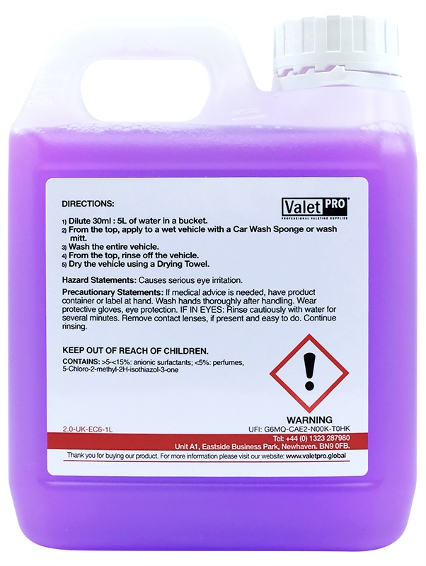 Concentrated Car Wash 1L back label