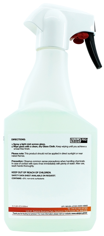 Glass Cleaner 500ml back label