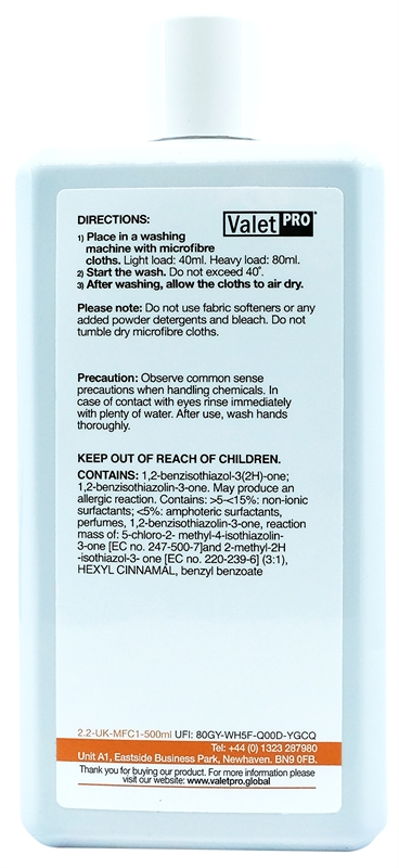 Microfibre reviver 500ml back label
