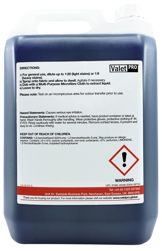 Advanced Interior Cleaner 5L back label